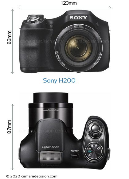 Sony H200 Body Size Dimensions