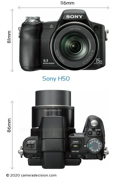 Sony H50 Body Size Dimensions