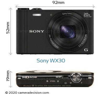 Sony WX30 Body Size Dimensions