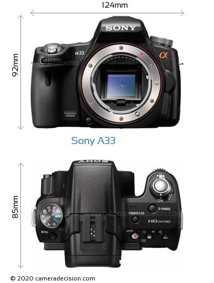 Sony A33 Body Size Dimensions