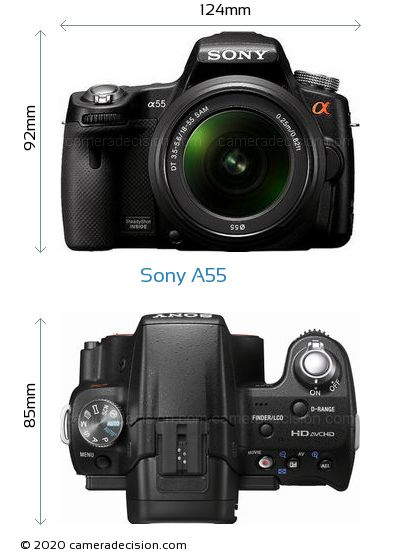 Sony A55 Body Size Dimensions