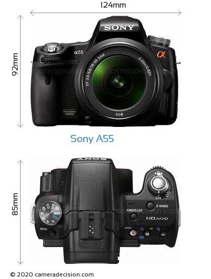 Sony A55 Body Size Dimensions