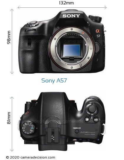 Sony A57 Body Size Dimensions