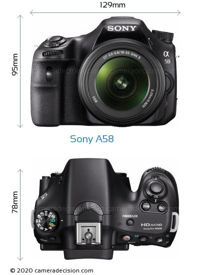 Sony A58 Body Size Dimensions