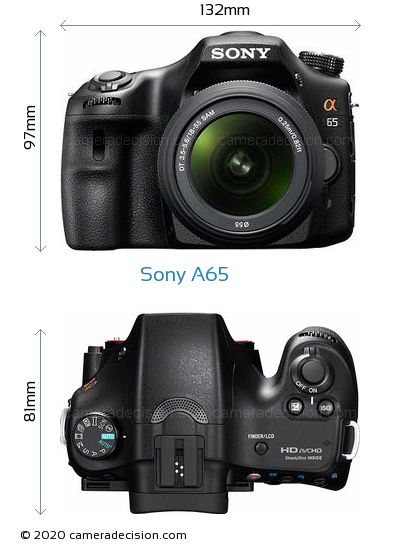 Sony A65 Body Size Dimensions