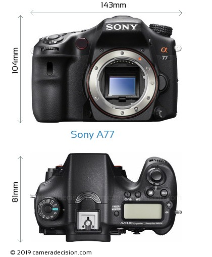 Sony A77 Body Size Dimensions