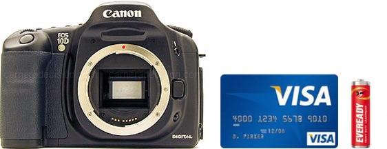 Canon 10D Real Life Body Size Comparison