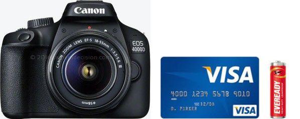 Canon 4000D Real Life Body Size Comparison