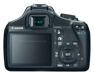 Canon 1100D back view and LCD
