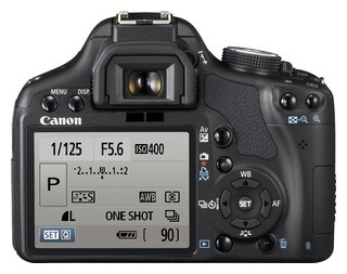 Canon 500D back view and LCD