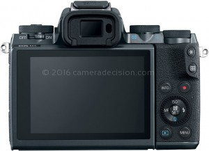 Canon M5 back view and LCD