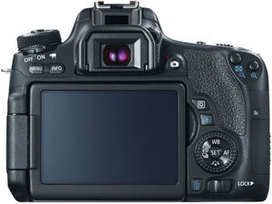 Canon T6s back view and LCD