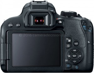 Canon T7i back view and LCD