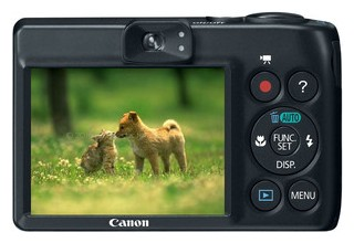 Canon A1300 back view and LCD