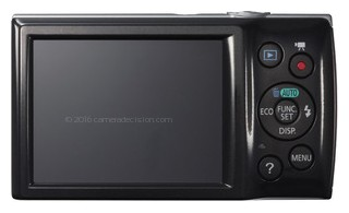Canon ELPH 135 back view and LCD