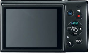 Canon ELPH 150 IS back view and LCD