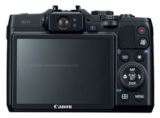 Canon G16 back view and LCD