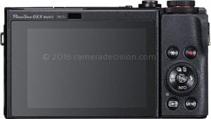 Canon G5 X MII back view and LCD
