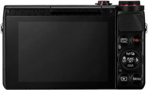 Canon G7 X back view and LCD
