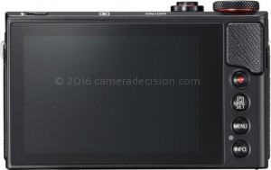 Canon G9 X II back view and LCD