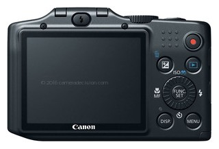 Canon SX160 IS back view and LCD