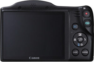 Canon SX400 IS back view and LCD