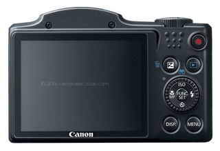 Canon SX500 IS back view and LCD