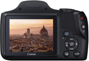 Canon SX520 HS back view and LCD