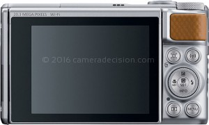 Canon X740 HS back view and LCD