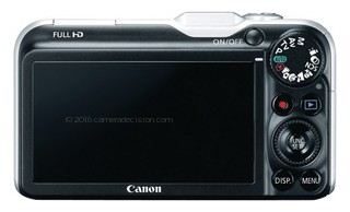 Canon SX220 HS back view and LCD