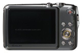 Casio EX-FS10 back view and LCD