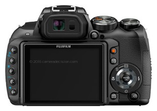 FujiFilm HS10 back view and LCD