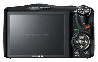 Fujifilm F800EXR back view and LCD