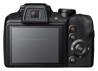 Fujifilm S9200 back view and LCD