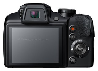 Fujifilm S9400W back view and LCD