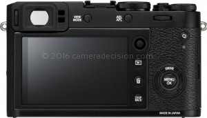 Fujifilm X100F back view and LCD