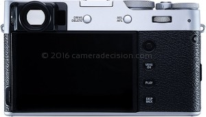Fujifilm X100V back view and LCD