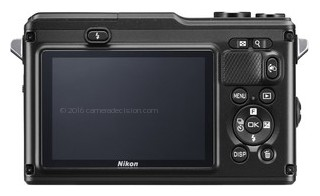 Nikon 1 AW1 back view and LCD