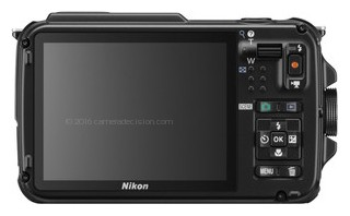 Nikon AW110 back view and LCD