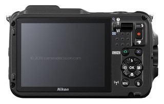 Nikon AW120 back view and LCD