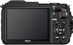 Nikon AW130 back view and LCD