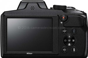 Nikon B600 back view and LCD
