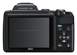 Nikon L120 back view and LCD