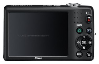 Nikon L26 back view and LCD