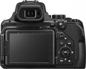 Nikon P1000 back view and LCD