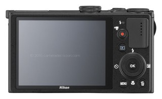 Nikon P330 back view and LCD
