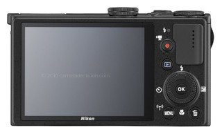 Nikon P340 back view and LCD