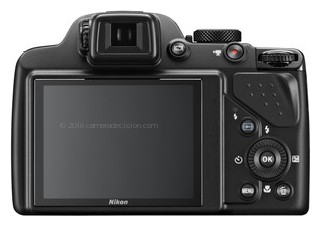 Nikon P530 back view and LCD