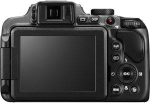 Nikon P610 back view and LCD