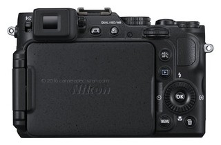Nikon P7800 back view and LCD